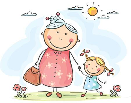 31896415-stock-vector-little-girl-and-her-granny-on-a-walk